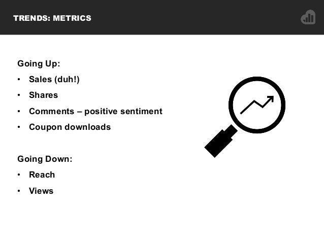 Going Up: • Sales (duh!) • Shares • Comments – positive sentiment • Coupon downloads Going Down: • Reach • Views TRE...