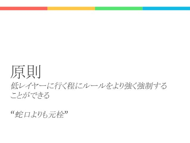 Lay Ar it re Frontend (client) Layers: Controller Service Repository Datastore 右に行く程にデータに対するルールの 強制力は強くなる