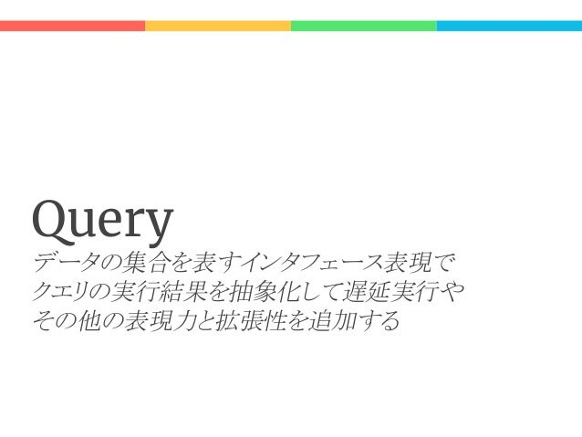 Lay Ar it re 二つの Query 定義: // for refer trait Query[T] extends Iterable[T] { def iterator(): Iterator[T] } // for update t...