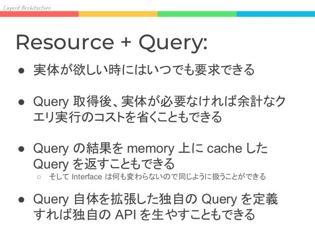 Lay Ar it re Resource meets Query: trait FooQuery extends Query[Foo] { def partialize(): FooQuery } trait FooResource { de...