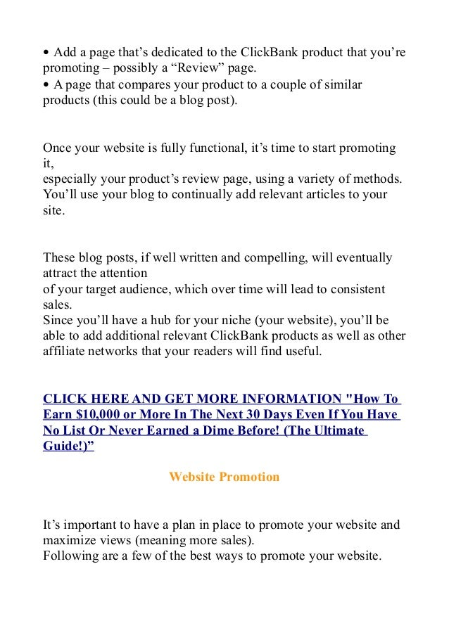 """• Add a page that's dedicated to the ClickBank product that you're promoting – possibly a """"Review"""" page. • A page that com..."""