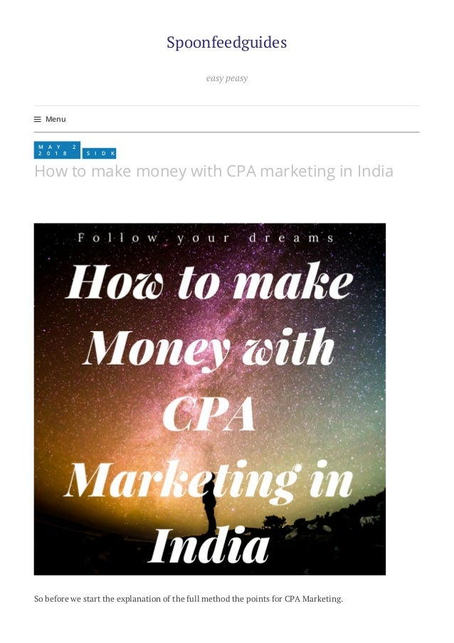 How to make Money with CPA Marketing in India