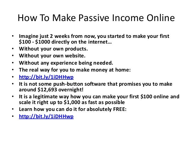 How To Make Passive Income Online • Imagine just 2 weeks from now, you started to make your first $100 - $1000 directly on...