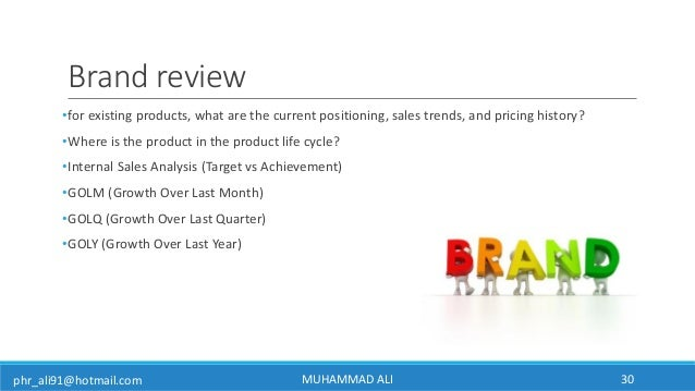 phr_ali91@hotmail.com Brand review •for existing products, what are the current positioning, sales trends, and pricing his...