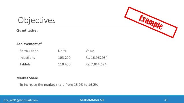phr_ali91@hotmail.com Objectives Quantitative: Achievement of Formulation Units Value Injections 103,200 Rs. 16,962984 Tab...