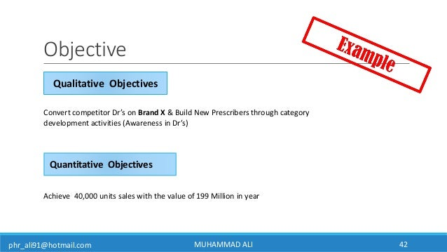 phr_ali91@hotmail.com Achieve 40,000 units sales with the value of 199 Million in year Convert competitor Dr's on Brand X ...