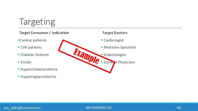phr_ali91@hotmail.com Targeting Target Consumer / Indication Cardiac patients  CHF patients  Diabetic Patients  Stroke...