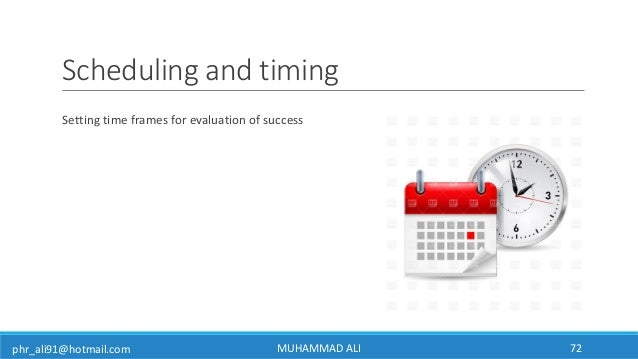 phr_ali91@hotmail.com Scheduling and timing Setting time frames for evaluation of success MUHAMMAD ALI 72