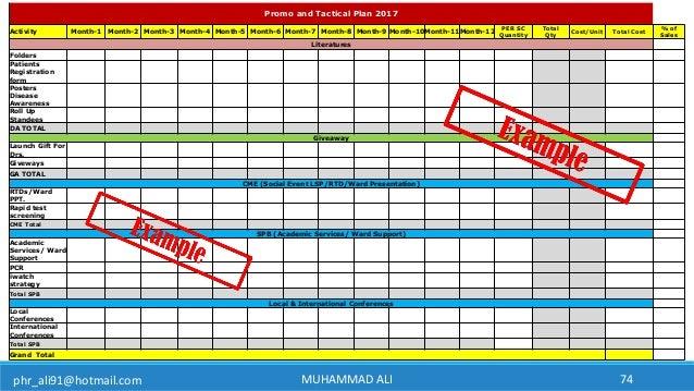 phr_ali91@hotmail.com MUHAMMAD ALI 74 Promo and Tactical Plan 2017 Activity Month-1 Month-2 Month-3 Month-4 Month-5 Month-...