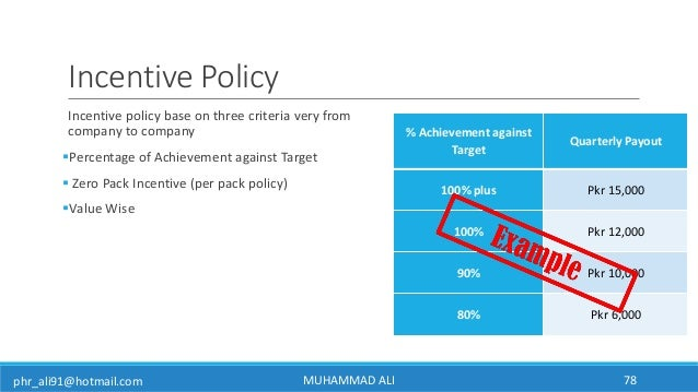 phr_ali91@hotmail.com Incentive Policy Incentive policy base on three criteria very from company to company Percentage of...