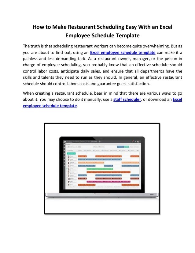 how to make restaurant scheduling easy with an excel employee schedul