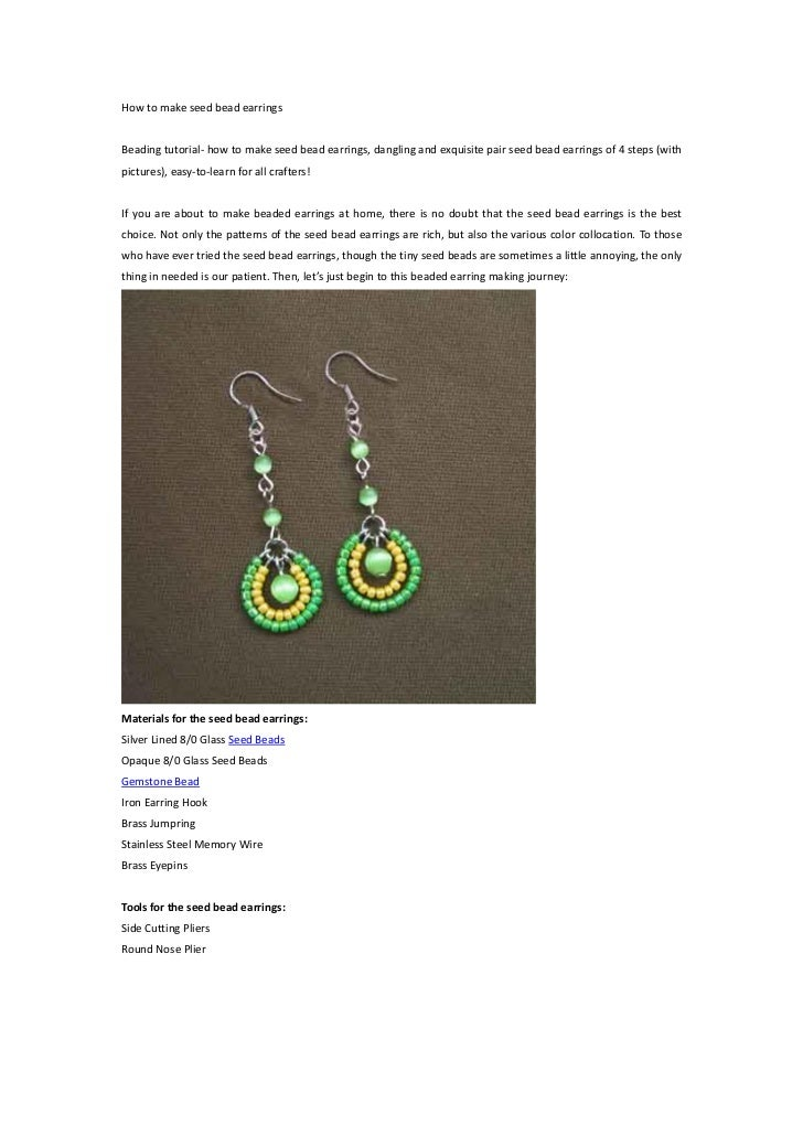 How to make seed bead earringsBeading tutorial- how to make seed bead earrings, dangling and exquisite pair seed bead earr...