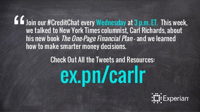 Join our #CreditChat every Wednesday at 3 p.m. ET. This week, we talked to New York Times columnist, Carl Richards, about ...
