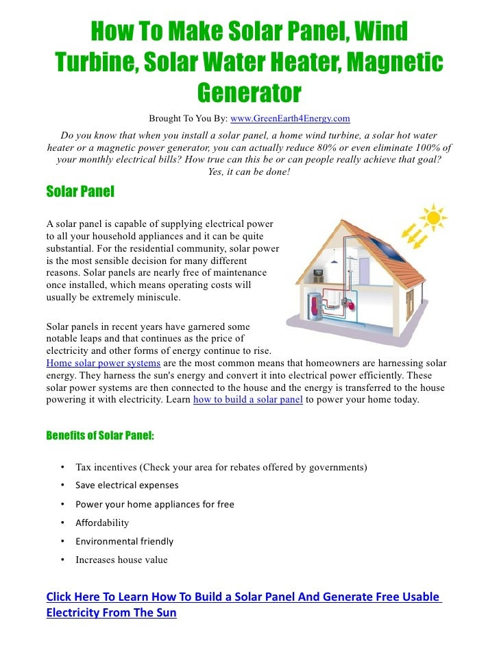 ... Make Solar Panel, Wind Turbine, Solar Water Heater, Magnetic Generator