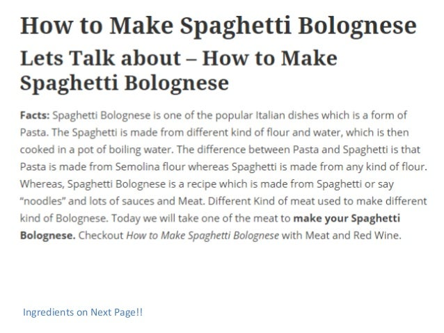 How To Make A Pasta Bolognese