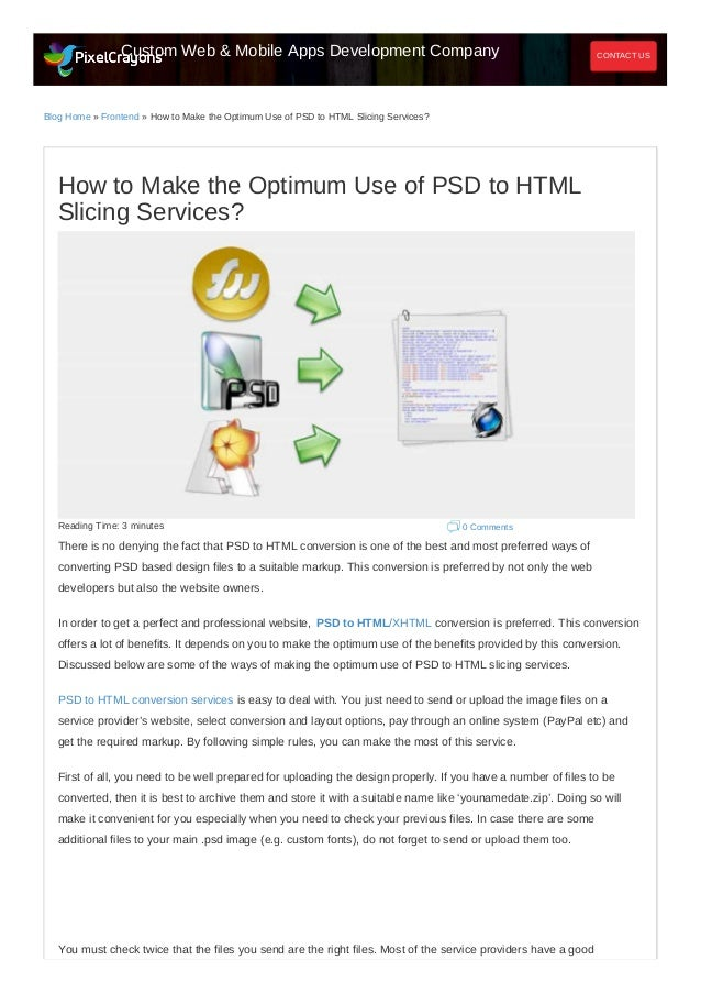 How to make the optimum use of psd to html slicing services?