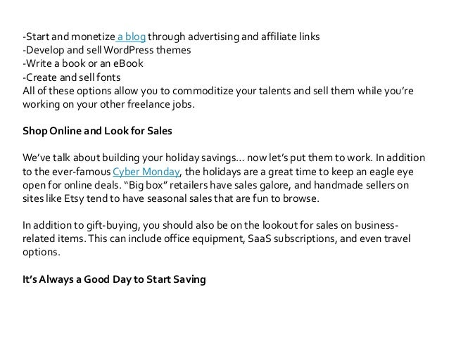 How To Make Your Holiday Savings Last Through The Freelance Break