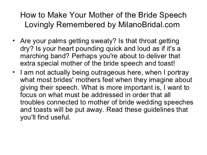 Wedding Speech For Your Mom. Wedding Speech Tips For Mother Of The
