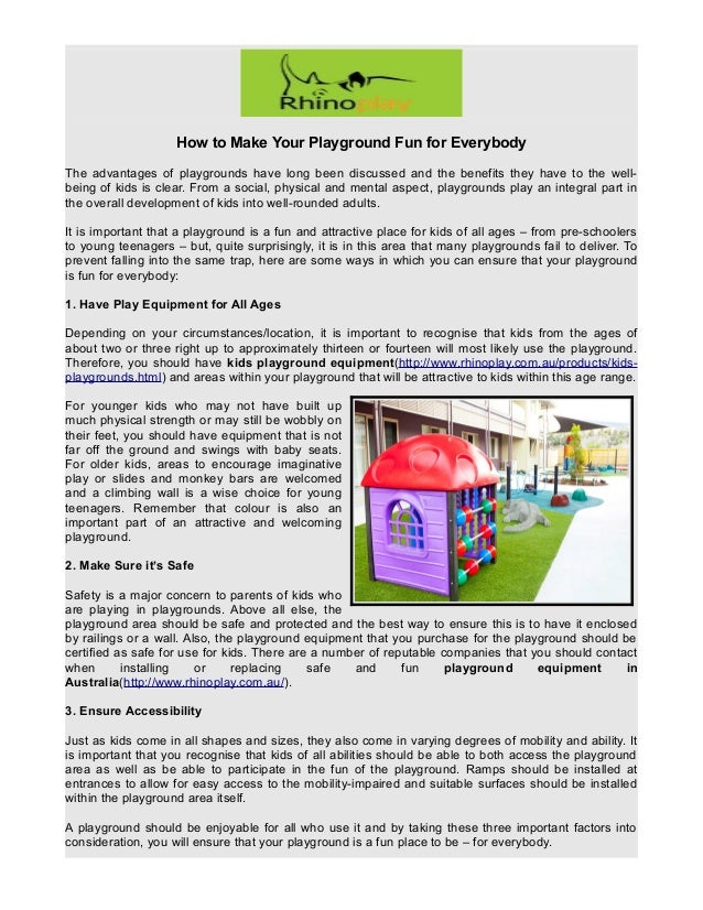 How to Make Your Playground Fun for Everybody