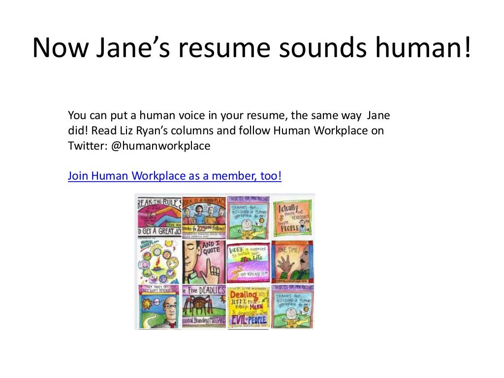 Now Janes Resume Sounds Human How To Make Your Sound