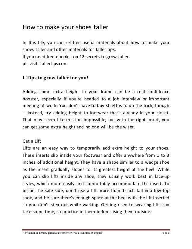 How to make your shoes taller  In this file, you can ref free useful materials about how to make your  shoes taller and ot...