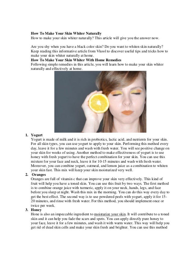 Make Your Face Whiter Naturally