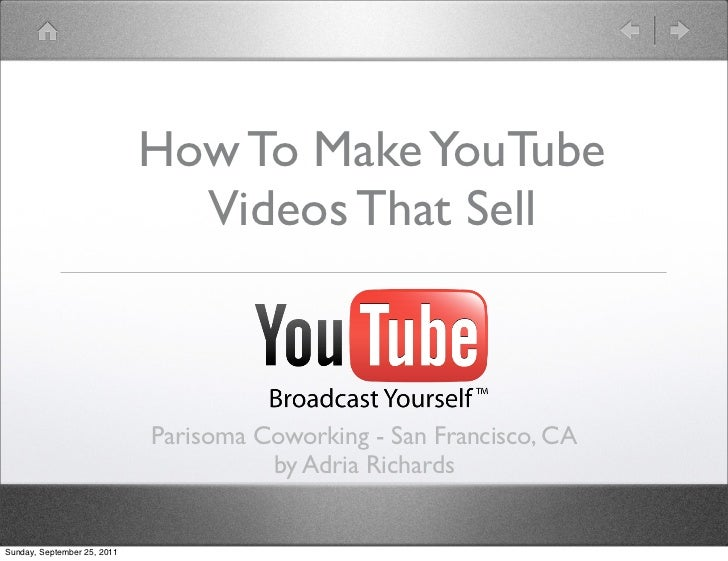How To Make YouTube                               Videos That Sell                             Parisoma Coworking - San Fr...