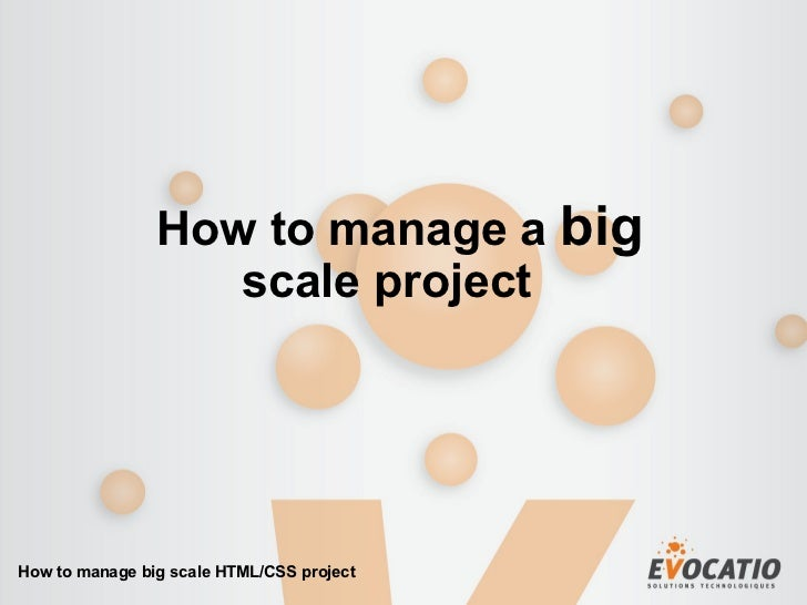 How to manage a  big scale project