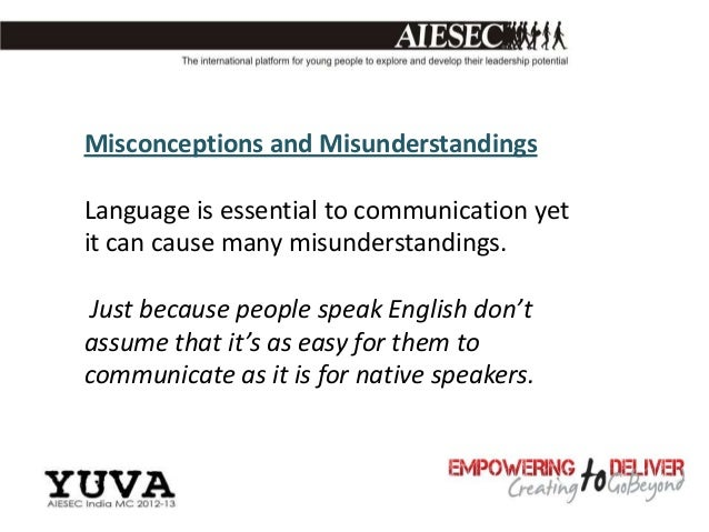 Misconceptions and MisunderstandingsLanguage is essential to communication yetit can cause many misunderstandings. Just be...