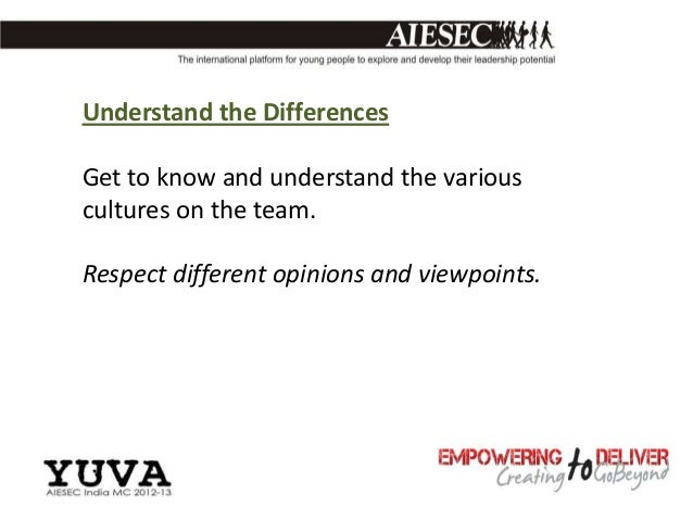 Understand the DifferencesGet to know and understand the variouscultures on the team.Respect different opinions and viewpo...