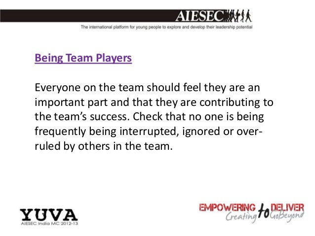 Being Team PlayersEveryone on the team should feel they are animportant part and that they are contributing tothe team's s...