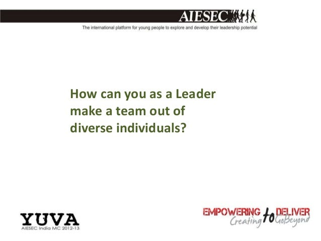 How can you as a Leadermake a team out ofdiverse individuals?