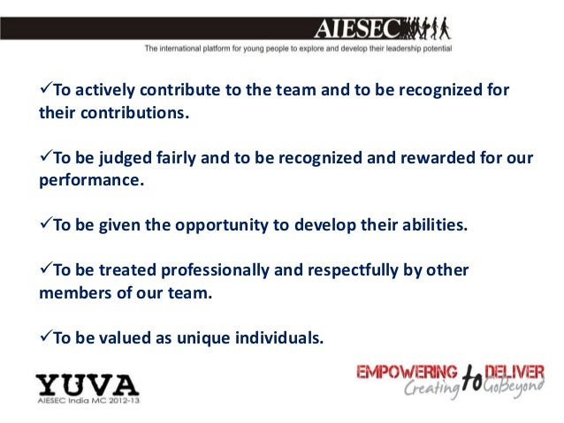 To actively contribute to the team and to be recognized fortheir contributions.To be judged fairly and to be recognized ...