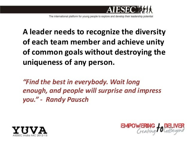 A leader needs to recognize the diversityof each team member and achieve unityof common goals without destroying theunique...