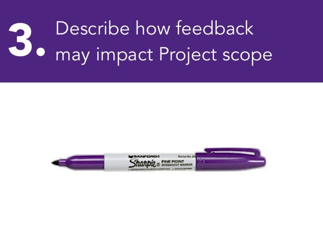 3.  Describe how feedback may impact Project scope Pen  Sharpie  Marker  Purple