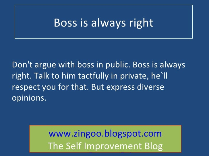 boss is always right essay