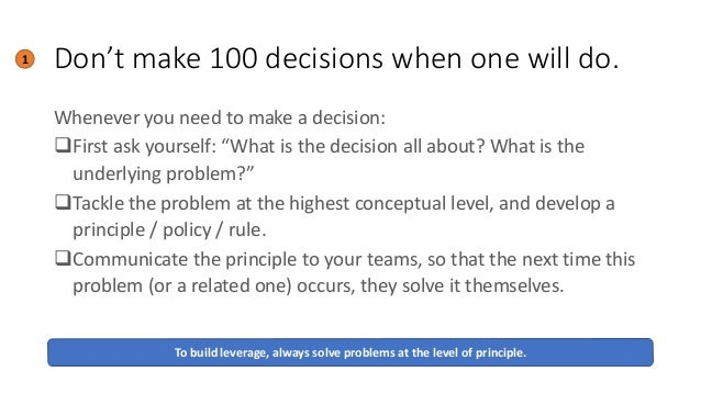 """Don't make 100 decisions when one will do. Whenever you need to make a decision: ❑First ask yourself: """"What is the decisio..."""