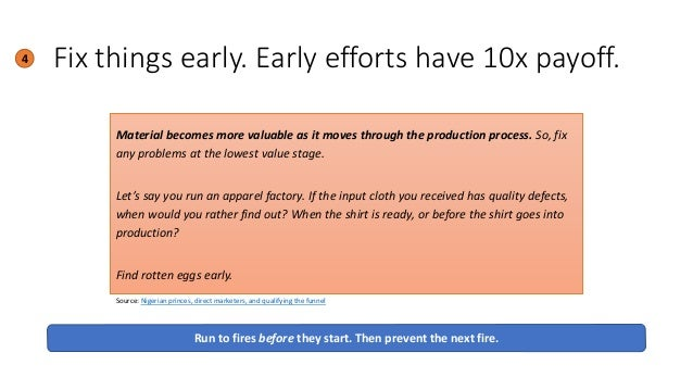 Fix things early. Early efforts have 10x payoff.4 Run to fires before they start. Then prevent the next fire. Material bec...