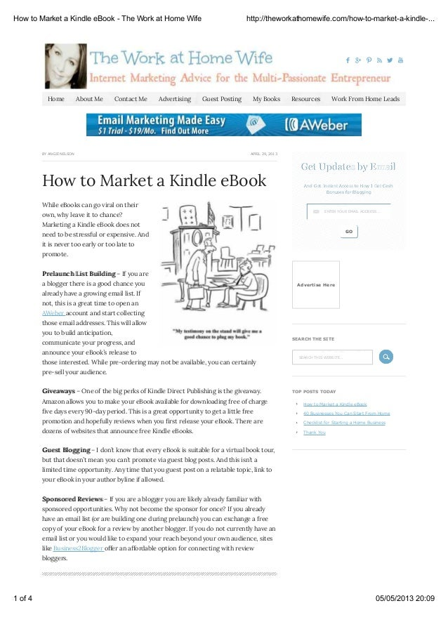     APRIL 29, 2013BY ANGIE NELSONHow to Market a Kindle eBookGet Updates by EmailGet Updates by EmailAnd Get Instan...