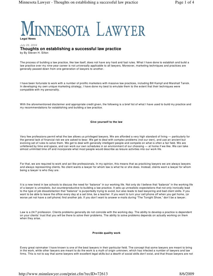 Minnesota Lawyer - Thoughts on establishing a successful law practice                                                     ...