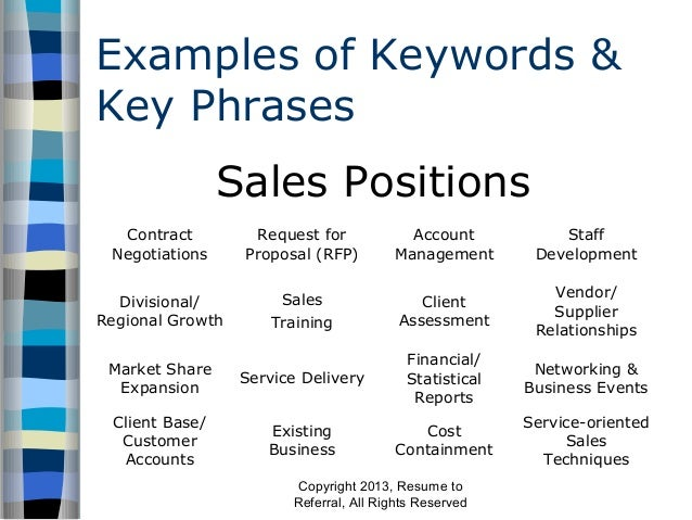 Lovely ... Resume To Referral, All Rights Reserved; 6. Examples Of Keywords U0026 Key  Phrases ...  Resume Key Phrases
