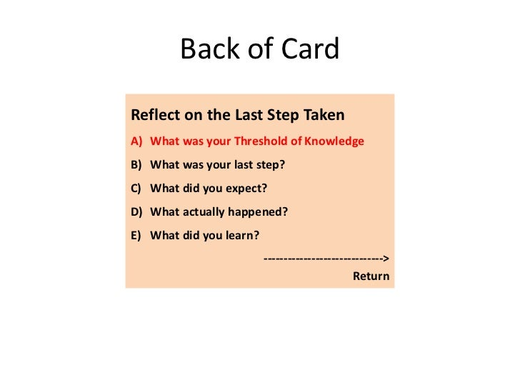 Back of CardReflect on the Last Step TakenA) What was your Threshold of KnowledgeB) What was your last step?C) What did yo...
