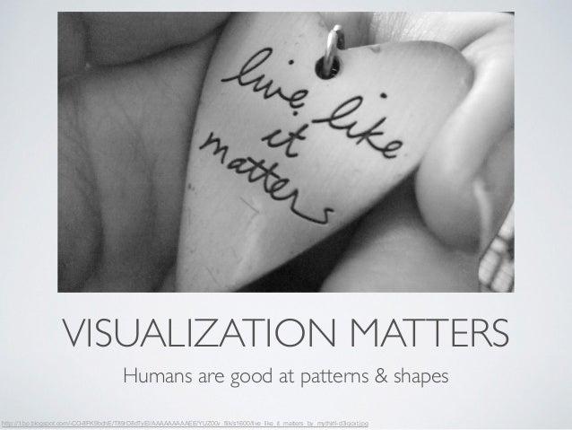 VISUALIZATION MATTERS  Humans are good at patterns & shapes  http://1.bp.blogspot.com/-CO-8FK9bohE/T89rD8dTyEI/AAAAAAAAAEE...