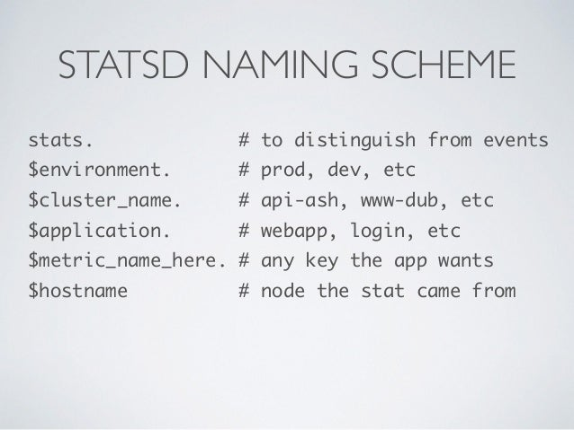 STATSD NAMING SCHEME  stats. # to distinguish from events  $environment. # prod, dev, etc  $cluster_name. # api-ash, www-d...