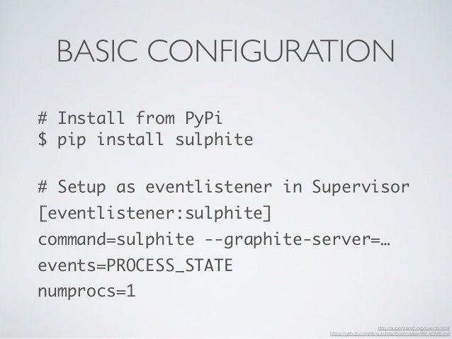 BASIC CONFIGURATION  # Install from PyPi  $ pip install sulphite  !  # Setup as eventlistener in Supervisor  [eventlistene...