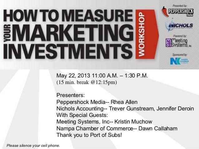 May 22, 2013 11:00 A.M. – 1:30 P.M.(15 min. break @12:15pm)Presenters:Peppershock Media-- Rhea AllenNichols Accounting-- T...