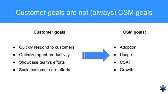Customer goals are not (always) CSM goals Company Goals Company Goals CustomerGoals CustomerGoals Customer goals: ● Quickl...