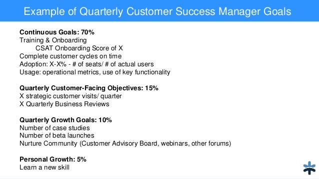 Example of Quarterly Customer Success Manager Goals Continuous Goals: 70% Training & Onboarding CSAT Onboarding Score of X...