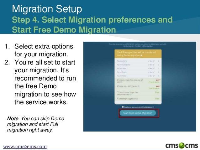 Migration Setup Step 4. Select Migration preferences and Start Free Demo Migration 1. Select extra options for your migrat...