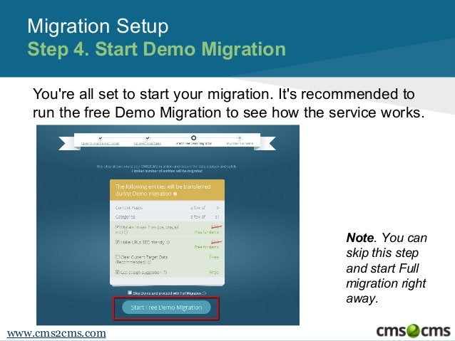 Migration Setup Step 4. Start Demo Migration You're all set to start your migration. It's recommended to run the free Demo...